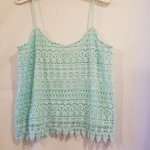 DIVIDED BY H&M CROCHET MINT TANK TOP